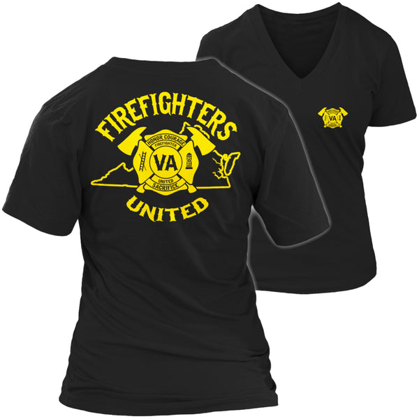 Limited Edition T-shirt Hoodie  - 'Your State' Firefighters United - Womens V-Neck / Black / S - My Revolutional Shop - 5