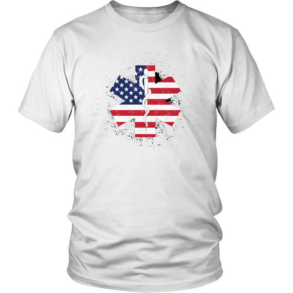Limited Edition T-shirt & Tank Top - EMT Flag Star of Life - Unisex Shirt / White / S - My Revolutional Shop - 1