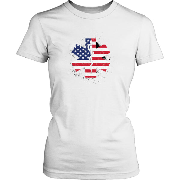 Limited Edition T-shirt & Tank Top - EMT Flag Star of Life - Womens Shirt / White / S - My Revolutional Shop - 2