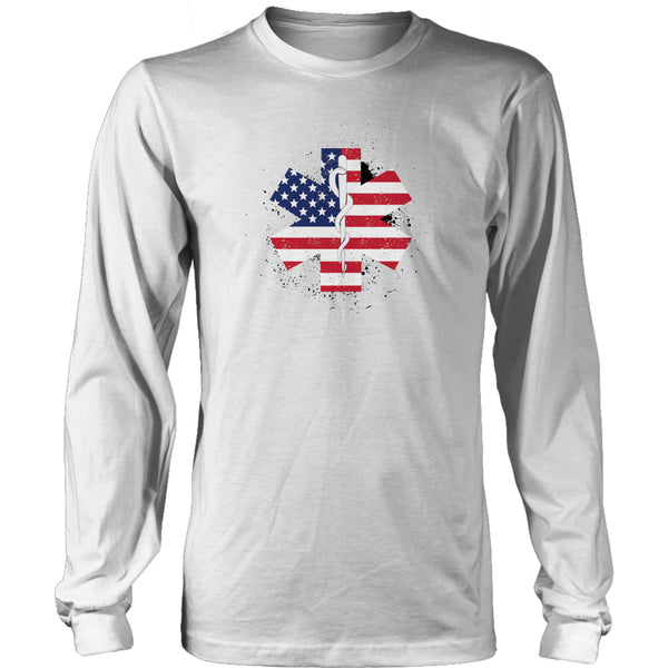 Limited Edition T-shirt & Tank Top - EMT Flag Star of Life - Long Sleeve / White / S - My Revolutional Shop - 4