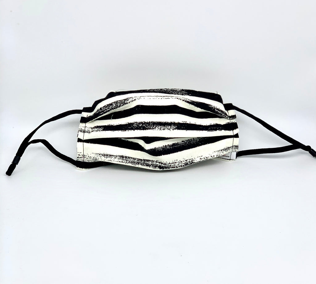 #006 - White/black Horizontal Striped Mask with Adjustable Straps