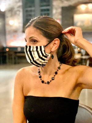 #003 - White/Black Vertical Striped Mask with Adjustable