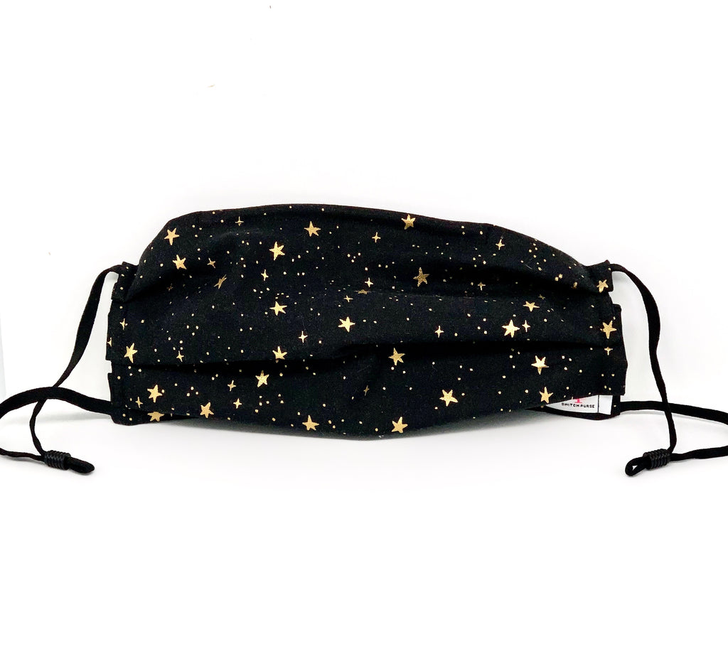 #048 - Black Mask with Gold Stars with Adjustable Straps