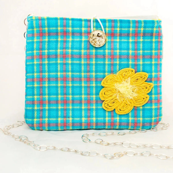 #759 - Turquoise Plaid with Yellow/White Striped Switch Purse