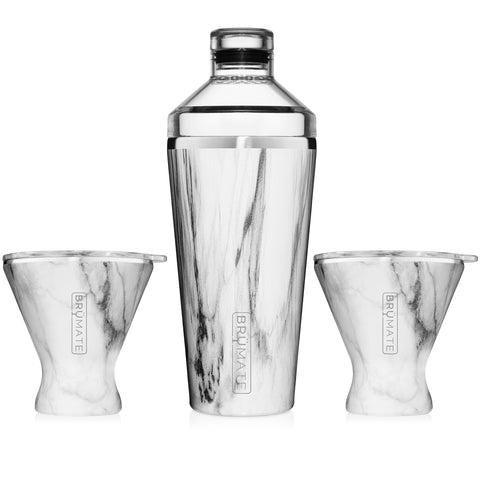 Cocktail Shaker + 2 MargTini 10oz Tumblers/Lids | Carrara