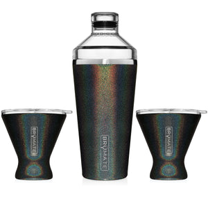 Cocktail Shaker + 2 MargTini 10oz Tumblers/Lids | Glitter Charcoal