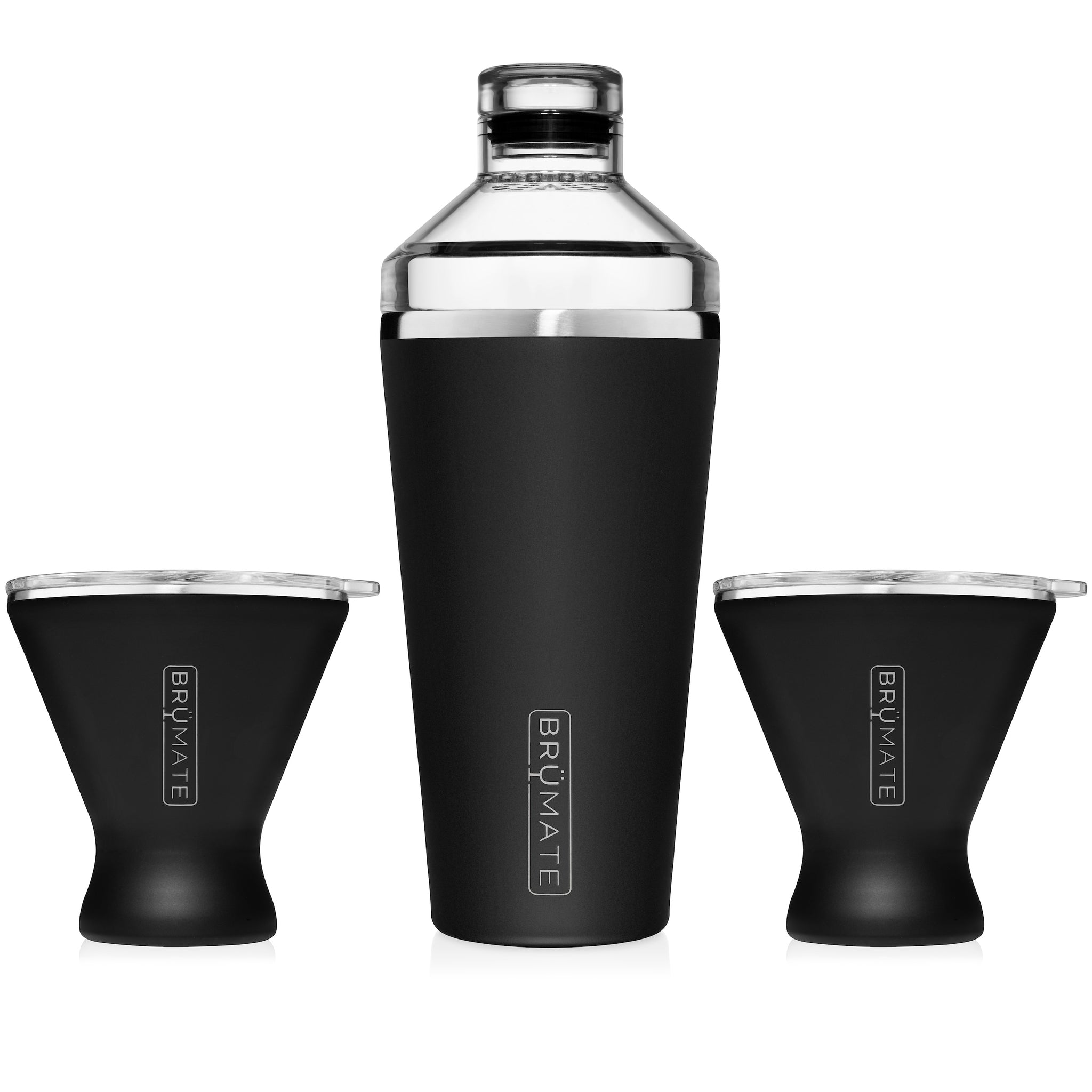 Cocktail Shaker + 2 MargTini 10oz Tumblers/Lids | Matte Black