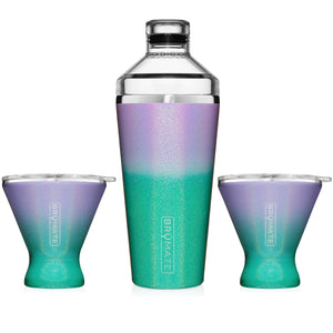 Cocktail Shaker + 2 MargTini 10oz Tumblers/Lids | Glitter Mermaid