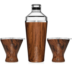 Cocktail Shaker + 2 MargTini 10oz Tumblers/Lids | WALNUT