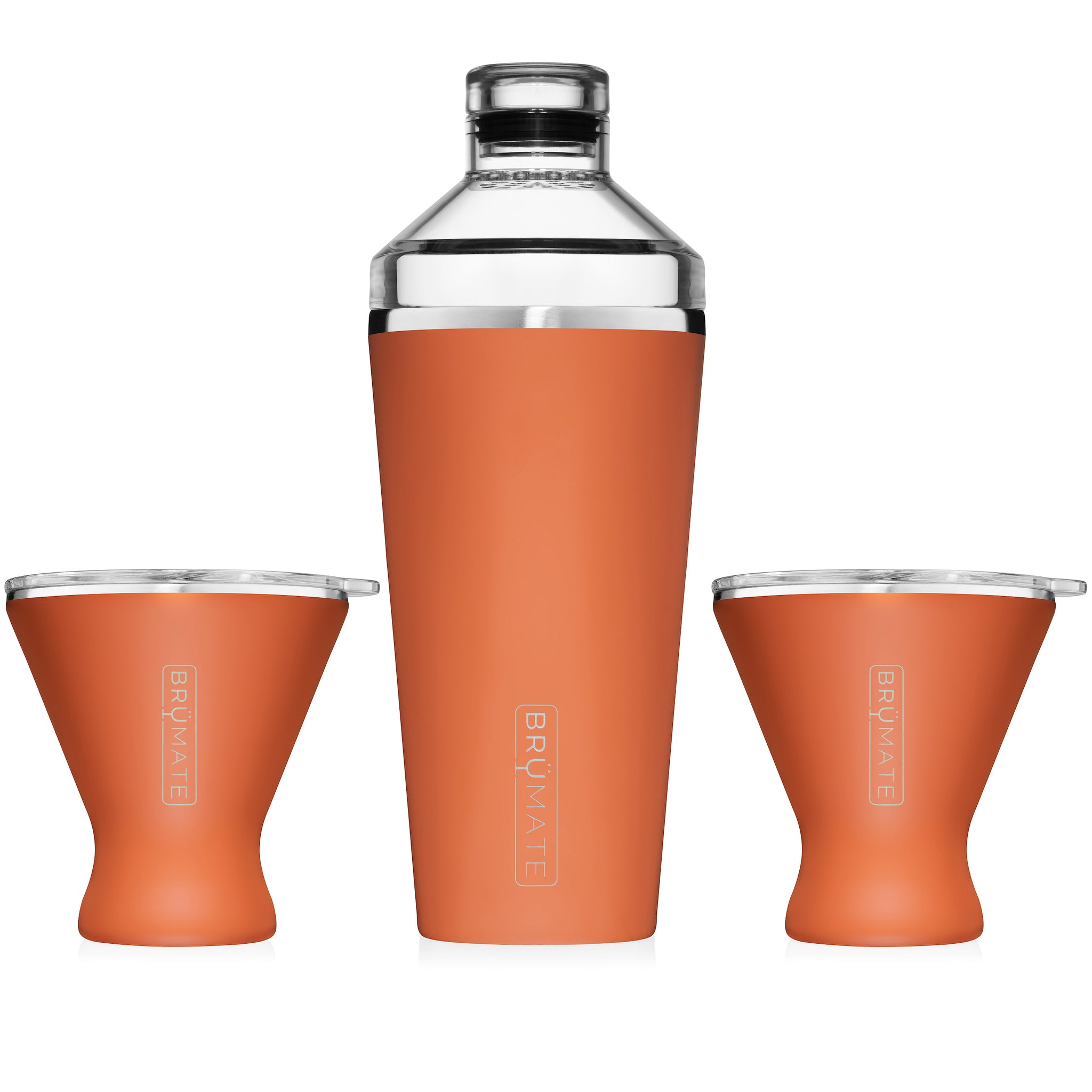 Cocktail Shaker + 2 MargTini 10oz Tumblers/Lids | Matte Clay