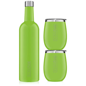 Winesulator + 2 Uncork'd XL Wine Tumblers/Lids | Electric Green