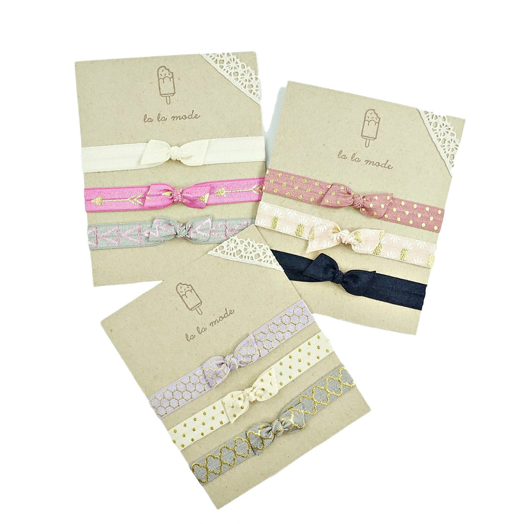 Bow Knot Elastic Headband Set - Three Styles