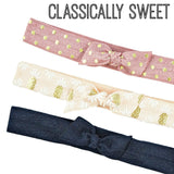 Classically sweet bow know elastic headband set