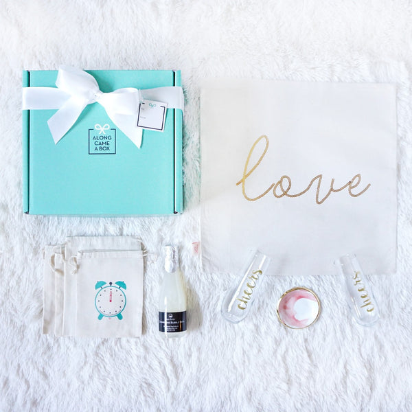 The Couples Gift Box with Teal Box and Handmade Hourly Gifts in Clock bags
