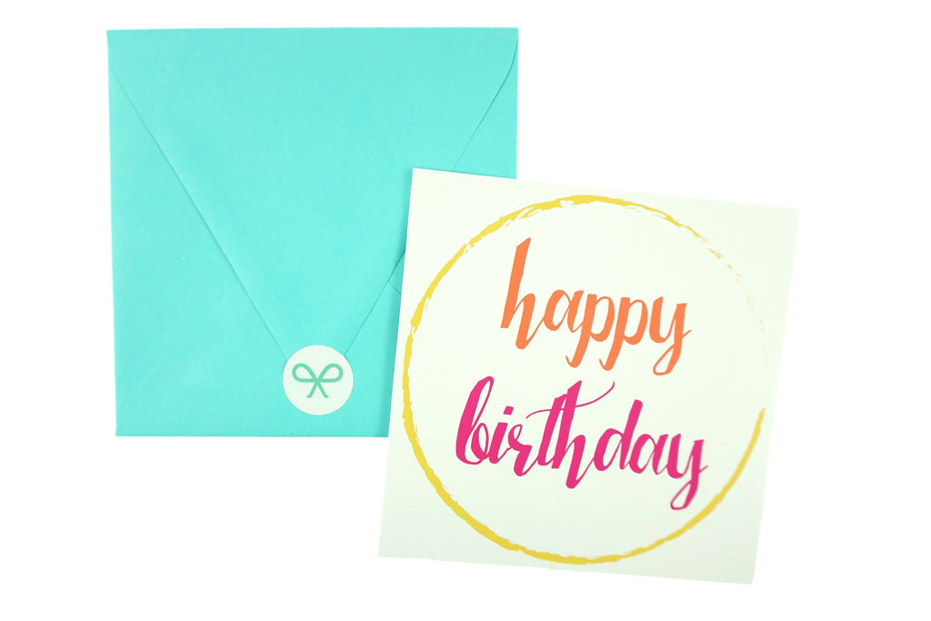 Bright Happy Birthday Card - Yellow, Orange and Pink