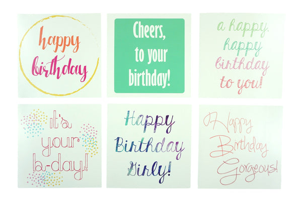 Bright colored, fun birthday cards