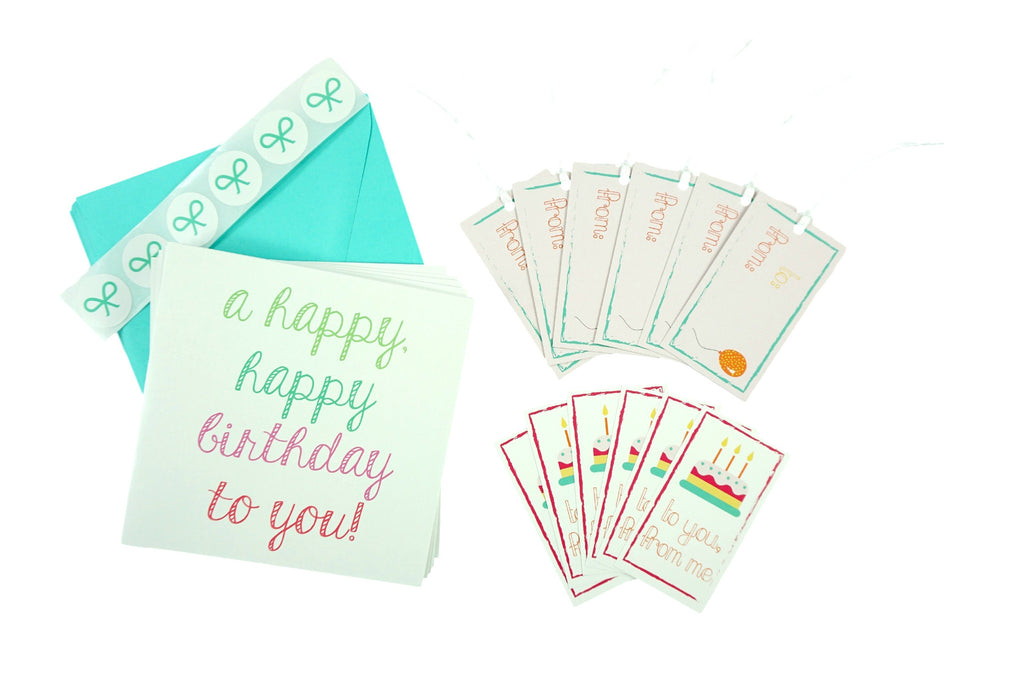 Happy Birthday Card Set with Cards, Gift Tags, and Stickers