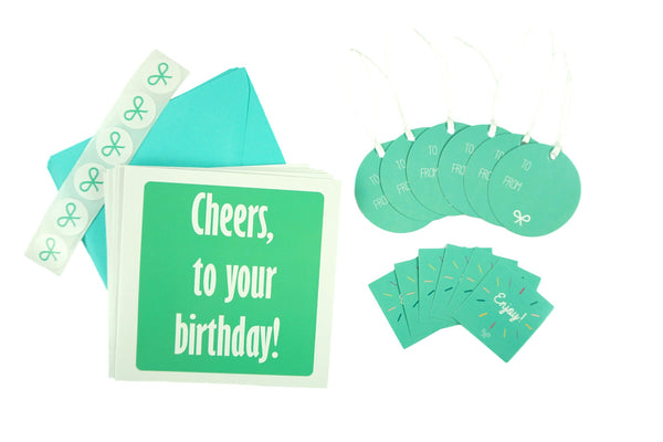 Cheers to your Birthday! Birthday Card Set with cards, gift tags, and stickers