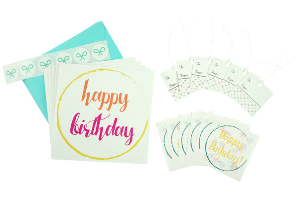 Happy Birthday Set with Cards, Gift Tags, and Stickers