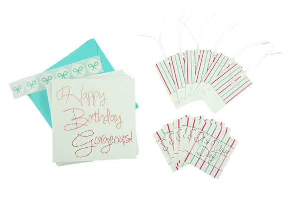 Pink Ombre Happy Birthday Gorgeous Set with Cards, Gift Tags, and Stickers