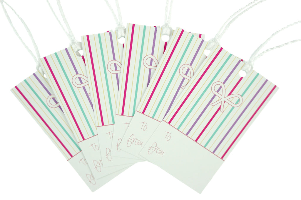Striped Bow Design Gift Tags