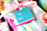 Teal, Yellow, and Pink Hanging Gift Tags