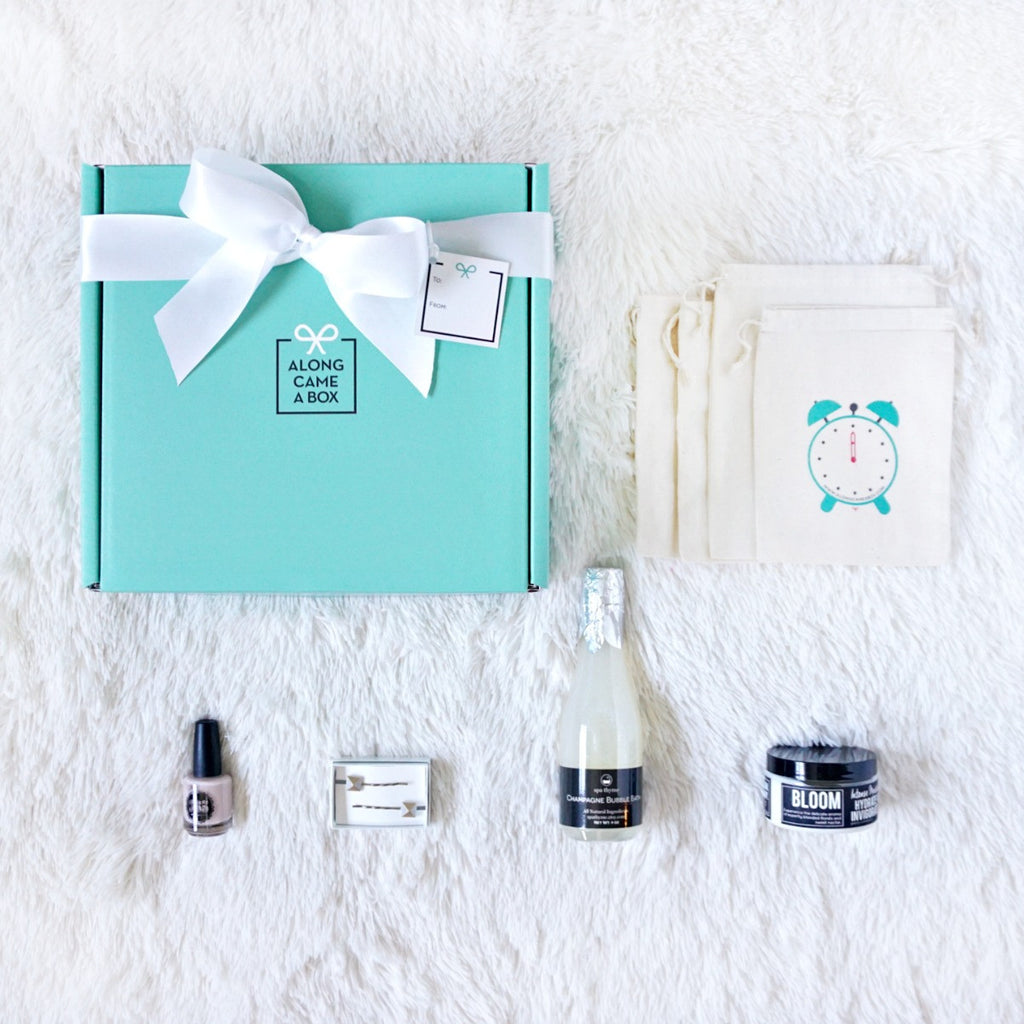 The Bride Gift Box with teal gift box and handmade hourly gifts inside for wedding day