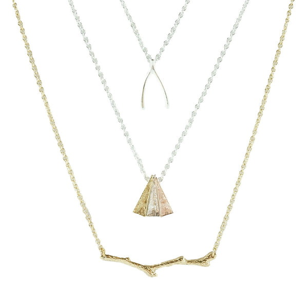 Handmade Delicate Minimal Necklace in Lucky Wishbone Olive Branch and Triangle Trio