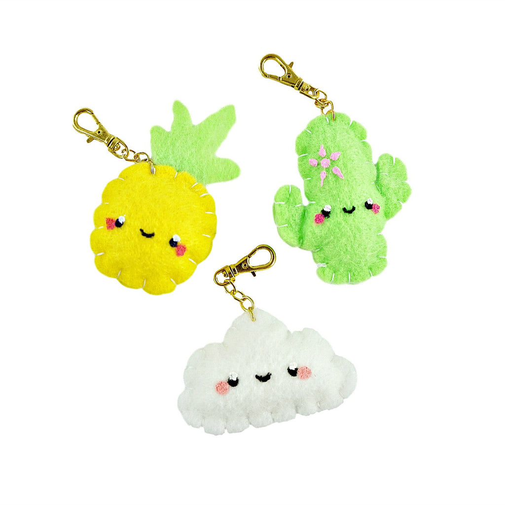 Handmade Kawaii Key Charm for Keys, Planners, and Travel Journals in Pineapple Cactus and Cloud