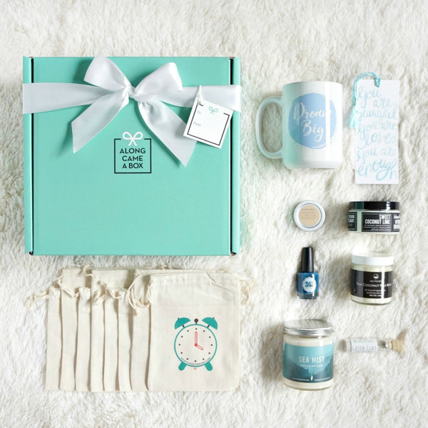 Relax and Unwind Gift Box with teal box, clock bags, handmade gifts for a day of presents