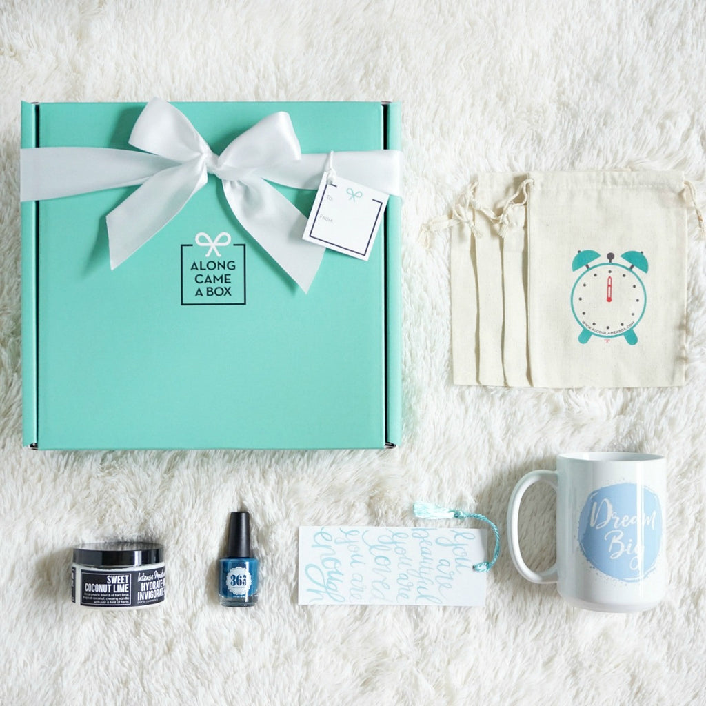 Relax and Unwind Gift Box Mini with teal box, clock bags, handmade gifts for a day of presents