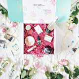 The Bride Gift Box opened with handmade gifts and hourly clock bags to send a day of presents