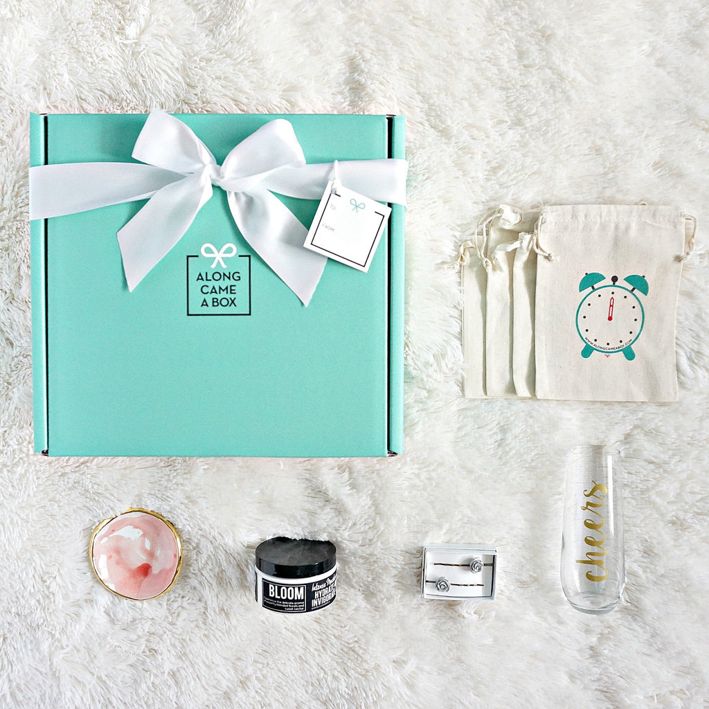 The Bridesmaid Mini Gift Box with Teal Gift Box, Clock bags, and handmade gifts