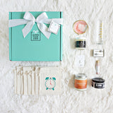 The Bridesmaid Gift Box with Teal Gift Box, Clock Bags, and Handmade gifts for a day of presents