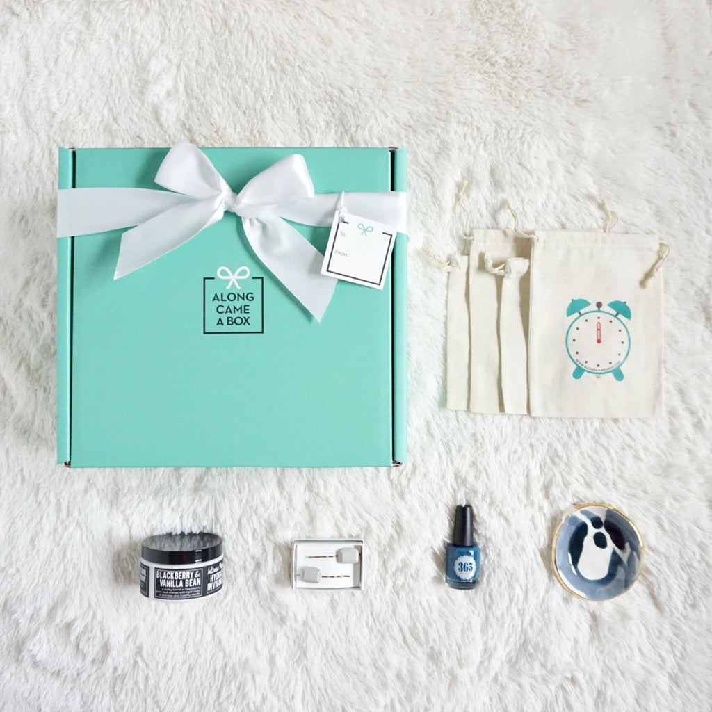 The Classic Birthday Gift Box Mini for Her with Teal Box, Clock Bags and Handmade Gifts