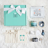 Birthday Gift Box for Her, Teal Gift Box with Clock Bags and Handmade Gifts from Small Businesses