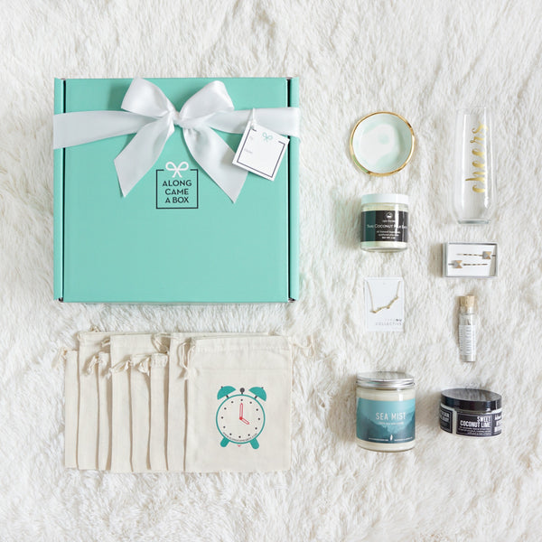 The Maid of Honor Gift Box with a teal box, clock bags, and handmade gifts to send a day of presents