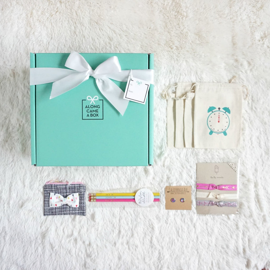 Too Cute Birthday Box for Girls Mini with Teal Box, Clock Bags, and Handmade Gifts