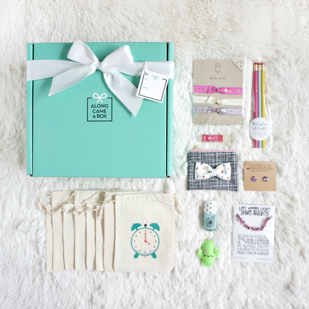Too Cute Birthday Box for girls with teal box, clock bags, and handmade gifts