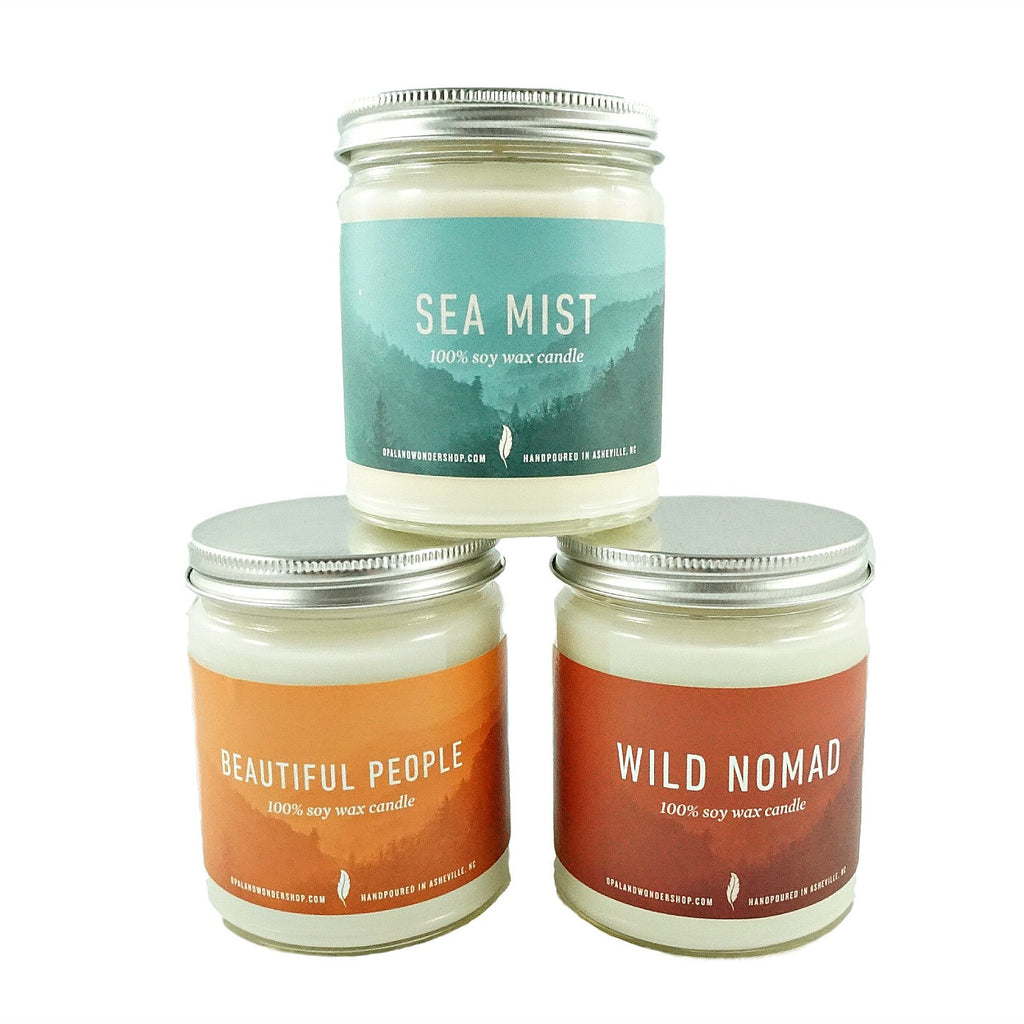 Vegan All Natural Soy Candle in Sea Mist, Beautiful People, and Wild Nomad