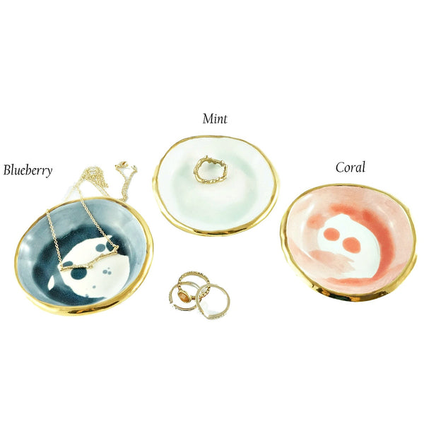 Watercolor Ring Dishes in Blueberry, Mint, and Coral