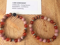 I Am Confident Bracelet, Carnelian, Rhodonite, Wood