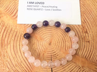 I Am Loved, Bracelet, Amethyst, Rose Quartz