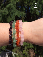 Sets of Gemstone Chip Bracelets, Chakra, Love, Manifestation, Protection, Travel