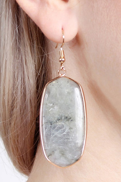 Stone Oval Earrings