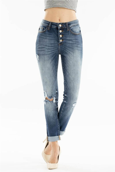 KANCAN (blue)High Rise Distressed Button Fly Denim