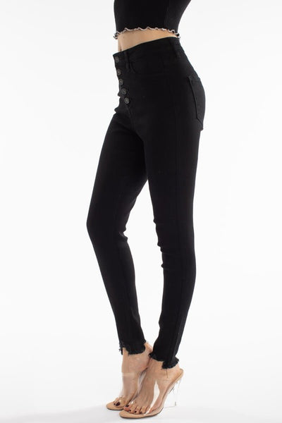 KANCAN Black High Rise Button Fly Skinnies
