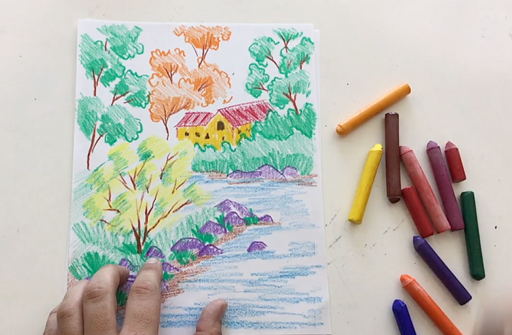 Crayon Landscape Drawing Tutorial from Waldorfish