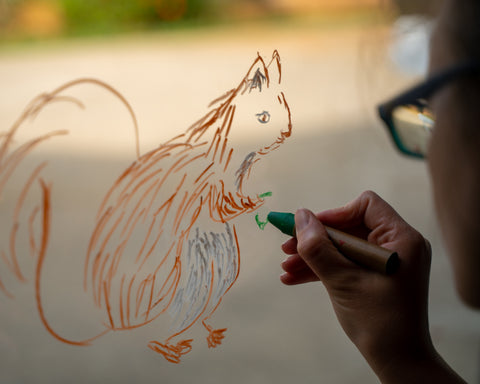 A person traces a squirrel on the window with Kitpas window crayons.