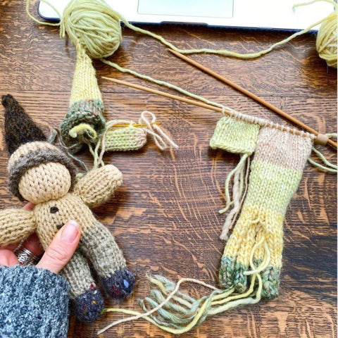 Handknit Gnome with Peace and Nature Handwork